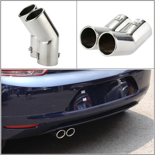 Dual Pipes Stainless Steel Exhaust Tail Pipes Muffler Tips for VW Golf 4 Bora JettaCar Accessories<br>Dual Pipes Stainless Steel Exhaust Tail Pipes Muffler Tips for VW Golf 4 Bora Jetta<br>