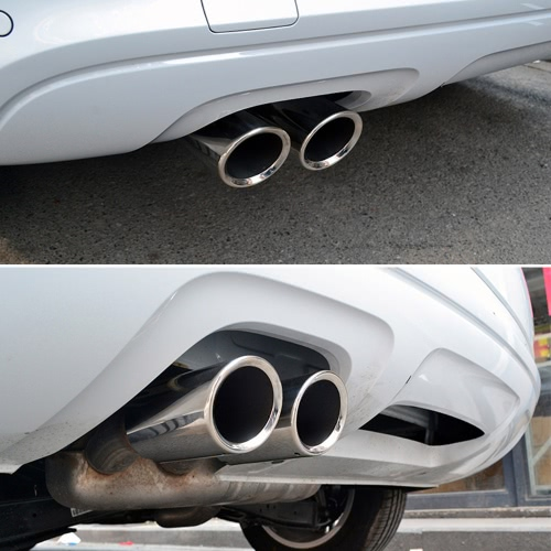 Pair of Car Stainless Steel Exhaust Tail Pipes Muffler Tips for VW Golf Tiguan Passat Touran for BMW 325i 328iCar Accessories<br>Pair of Car Stainless Steel Exhaust Tail Pipes Muffler Tips for VW Golf Tiguan Passat Touran for BMW 325i 328i<br>