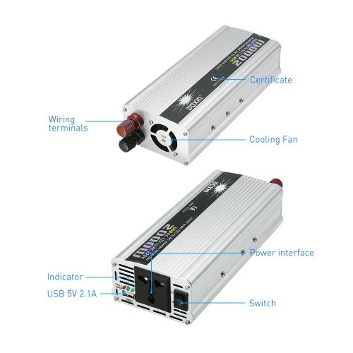 2000W WATT DC 12V to AC 220V Portable Car Power Inverter Charger Converter