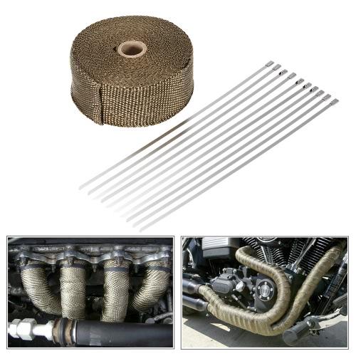 10m Titanium Fiber Heat Wrap Exhaust Manifold 10 Cable Ties 30cm for Car MotorcycleCar Accessories<br>10m Titanium Fiber Heat Wrap Exhaust Manifold 10 Cable Ties 30cm for Car Motorcycle<br>