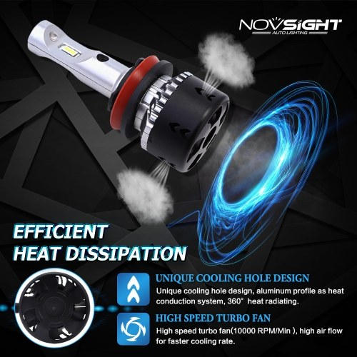 NOVSIGHT H11/H8/H9 LED Car Headlights Bulbs 70W 10000LM H15 Hi/lo Driving Fog Lights H1 H4 H7 H11 9005 9006 D1 Headlamp Light   D40