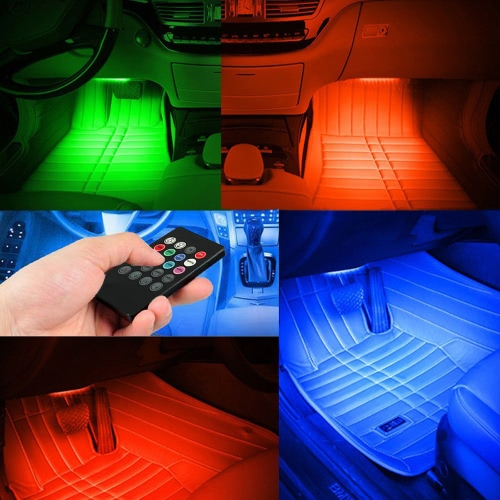 4pcs 48 LED DC 12V Multicolor Music Car Interior Atmosphere Light Car Floor Dash LED Decoration Lamp Kit  Wireless Remote ControlCar Accessories<br>4pcs 48 LED DC 12V Multicolor Music Car Interior Atmosphere Light Car Floor Dash LED Decoration Lamp Kit  Wireless Remote Control<br>