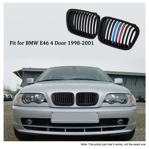 One Pair Matt Black Front Kidney Grille M Style Grill with Red Blue &amp; Dark Blue Color Decoration for BMW E46 4 Door 98-01Car Accessories<br>One Pair Matt Black Front Kidney Grille M Style Grill with Red Blue &amp; Dark Blue Color Decoration for BMW E46 4 Door 98-01<br>