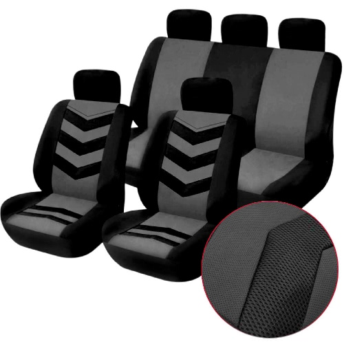 Universal Car Seat Cover Set 9Pcs Seat Covers Front Seat Back Seat Headrest Cover Mesh Black and GrayCar Accessories<br>Universal Car Seat Cover Set 9Pcs Seat Covers Front Seat Back Seat Headrest Cover Mesh Black and Gray<br>