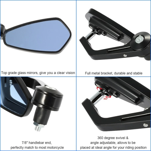 Pair of Motorcycle End Bar Rearview Mirror Universal 7/8 Handle Bar 360°Swivel &amp; Angle Adjustable Side View MirrorsCar Accessories<br>Pair of Motorcycle End Bar Rearview Mirror Universal 7/8 Handle Bar 360°Swivel &amp; Angle Adjustable Side View Mirrors<br>