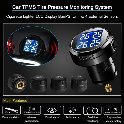 Car TPMS Tire Pressure Monitoring System Cigarette Lighter LCD Display Bar/PSI Unit w/ 4 External SensorsCar Accessories<br>Car TPMS Tire Pressure Monitoring System Cigarette Lighter LCD Display Bar/PSI Unit w/ 4 External Sensors<br>