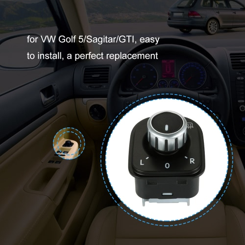 Car Side View Mirror Rear View Mirror Switch Adjust Plating Control Knob with Heat for VW Golf 5/Sagitar/GTICar Accessories<br>Car Side View Mirror Rear View Mirror Switch Adjust Plating Control Knob with Heat for VW Golf 5/Sagitar/GTI<br>