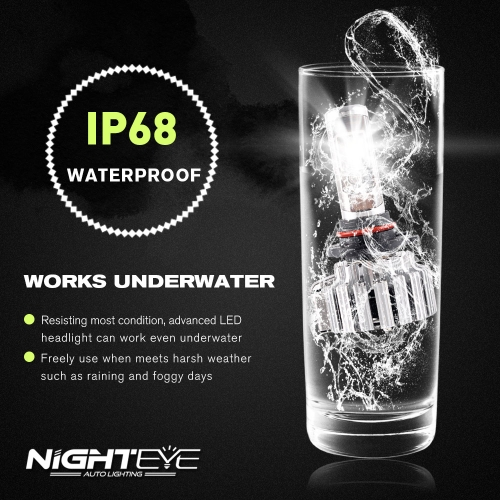 Nighteye 9000LM 9005/HB3 LED headlight light bulbs replace halogen xenon   6000KCar Accessories<br>Nighteye 9000LM 9005/HB3 LED headlight light bulbs replace halogen xenon   6000K<br>