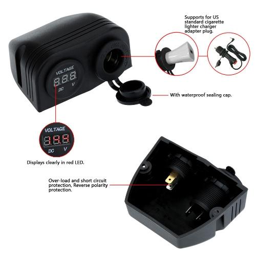 Car Cigarette Lighter Socket Power Charger Adapter + Digital VoltmeterCar Accessories<br>Car Cigarette Lighter Socket Power Charger Adapter + Digital Voltmeter<br>