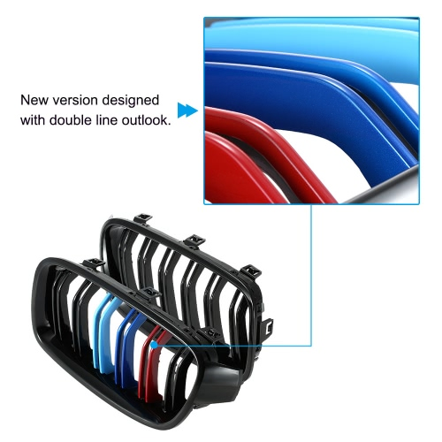 One Pair Front Gloss Black M-color Grille Grilles for BMW F30 F35 2012-2015
