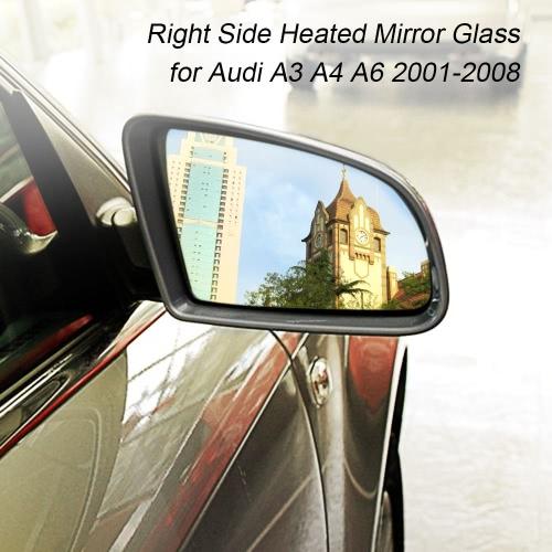 Lado direito rígido aquecido asa elétrica porta de vidro do espelho para Audi A3 A4 A6 2001-2008