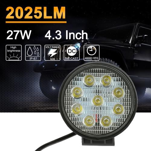 KKmoon 27W LED Car Work Light Bar 4.3 Inch Round Spot Beam for Jeep 4x4 Offroad ATV Truck SUV 12V 24VCar Accessories<br>KKmoon 27W LED Car Work Light Bar 4.3 Inch Round Spot Beam for Jeep 4x4 Offroad ATV Truck SUV 12V 24V<br>