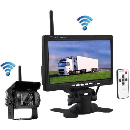 7inch سيارة HD مراقب الرؤية الخلفية لاسلكية IR عكس الكاميرا عدة لشاحنة مقطورة