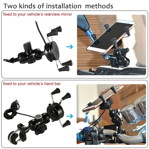 WUPP Motorcycle E-bike 2 in 1 Mount Bracket Stand Holder USB Port Adapter Charging Universal for iPhone6 6s 6plus Samsung GPSCar Accessories<br>WUPP Motorcycle E-bike 2 in 1 Mount Bracket Stand Holder USB Port Adapter Charging Universal for iPhone6 6s 6plus Samsung GPS<br>