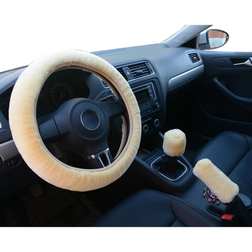 3Pcs Car Styling Steering Wheel Hand Brake Change Lever Winter Wool Felt Soft Comfortable Auto Accessories Cover Interior Case PluCar Accessories<br>3Pcs Car Styling Steering Wheel Hand Brake Change Lever Winter Wool Felt Soft Comfortable Auto Accessories Cover Interior Case Plu<br>