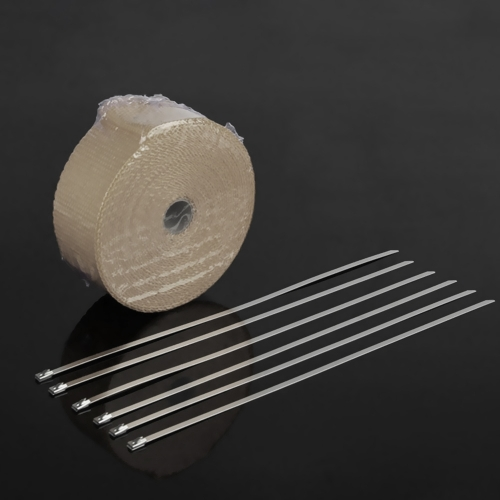 5m Exhaust Heat Wrap Roll Fiberglass Heat Insulated Wrap Durable Heat Shield Tape for Motorcycle Car with 6 TiesCar Accessories<br>5m Exhaust Heat Wrap Roll Fiberglass Heat Insulated Wrap Durable Heat Shield Tape for Motorcycle Car with 6 Ties<br>