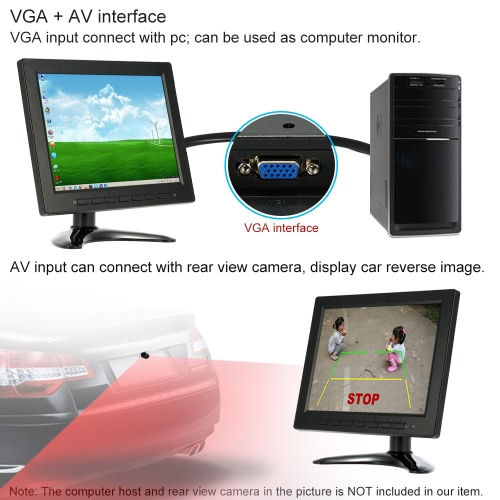 8 inch FHD 1024*600 TFT LCD Color Monitor Screen Video AV BNC VGA Input for PC CCTV Security Camera DVR System Rear View DisplayCar Accessories<br>8 inch FHD 1024*600 TFT LCD Color Monitor Screen Video AV BNC VGA Input for PC CCTV Security Camera DVR System Rear View Display<br>