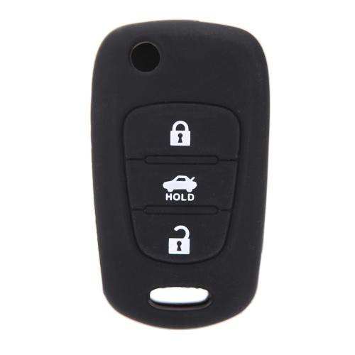 Bouton de télécommande porte-clé 3 Housse Etui silicone Shell clés pour Kia K2 K5 Pro Ceed
