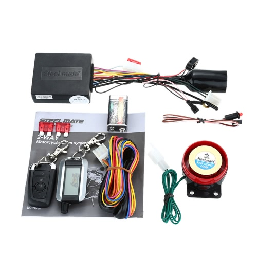 Steelmate 986XO 2 Way Motorcycle Alarm System Remote Engine Start Water Resistant ECU with LCD Transmitter Motorcycle Security SysCar Accessories<br>Steelmate 986XO 2 Way Motorcycle Alarm System Remote Engine Start Water Resistant ECU with LCD Transmitter Motorcycle Security Sys<br>