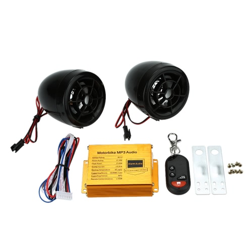 Motorcycle MP3 Player Speakers Audio Sound System FM Radio Security Alarm Wireless Remote with USB SD SlotCar Accessories<br>Motorcycle MP3 Player Speakers Audio Sound System FM Radio Security Alarm Wireless Remote with USB SD Slot<br>
