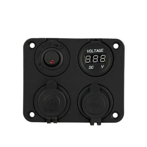 Four Hole Panel Base + Dual USB Socket + Voltmeter Meter + Power Socket + ON-OFF Button Switch for Car Truck Motorcycle Boat for ACar Accessories<br>Four Hole Panel Base + Dual USB Socket + Voltmeter Meter + Power Socket + ON-OFF Button Switch for Car Truck Motorcycle Boat for A<br>