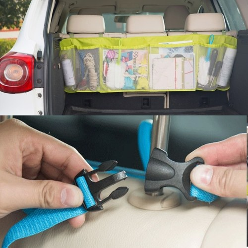 1Pc Car Back Seat Organizer Storage Bag Tissue Box Travel Holder Pouch Black