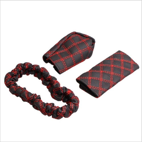 3PCS Fashion Car PU Interior Accessories Rearview Mirror Hand Brake Gear Shift Case Cover Soft Comfortable Adjustable StrapCar Accessories<br>3PCS Fashion Car PU Interior Accessories Rearview Mirror Hand Brake Gear Shift Case Cover Soft Comfortable Adjustable Strap<br>