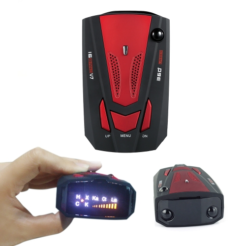 Car Vehicle Radar Detector Speed Control Detector  V7 Speed Voice Alert Warning Device Red   Russia / EnglishCar Accessories<br>Car Vehicle Radar Detector Speed Control Detector  V7 Speed Voice Alert Warning Device Red   Russia / English<br>