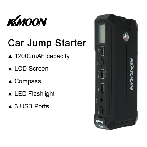 KKmoon 12000mAh Portable Car Jump Starter Power Bank with LCD Screen &amp; Compass and LED Flashlight 3 USB Port Charging for IOS AndrCar Accessories<br>KKmoon 12000mAh Portable Car Jump Starter Power Bank with LCD Screen &amp; Compass and LED Flashlight 3 USB Port Charging for IOS Andr<br>