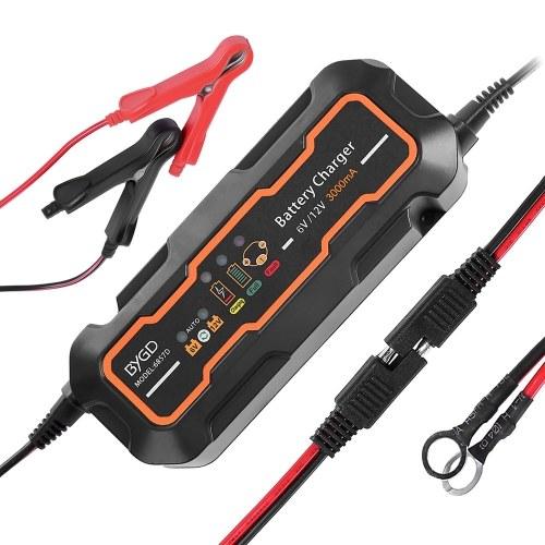 BYGD 6V / 12V 3A Cargador de batería de coche inteligente Cargador y mantenedor de batería automático completo portátil