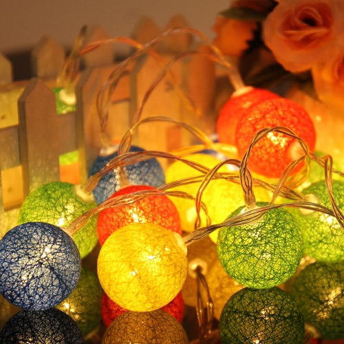 10/20 Pcs Colorful Fabric Creamy Cotton Lamp Ball String Fairy LED Lights Decor Romantic Decoration Ligthing Bulb with Mixed ColorHome &amp; Garden<br>10/20 Pcs Colorful Fabric Creamy Cotton Lamp Ball String Fairy LED Lights Decor Romantic Decoration Ligthing Bulb with Mixed Color<br>