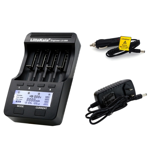 LiitoKala Lii-500 4 Slots LCD Smartest Battery Charger Kit with Car Charger US Adapter