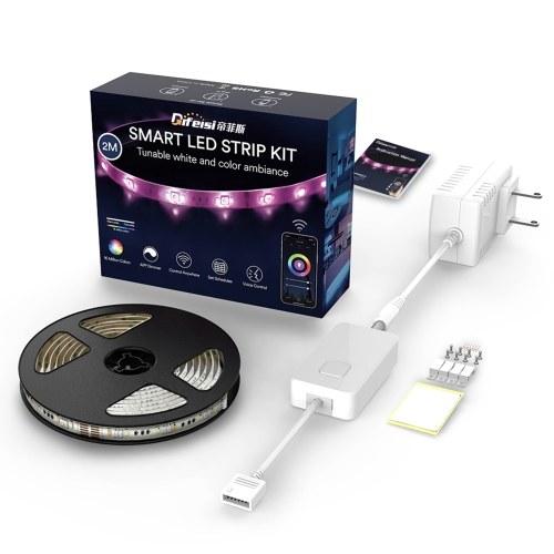 2M WiFi Intelligent Light Strip 3000-6500K RGB + CCT Einstellbarer Licht-Timing-Schalter APP Remote Control Voice Control