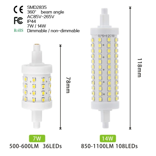 R7S 108 LEDs 14W 118mm 850-1100LM 2835SMD AC85-265V Bulb Light Corn Lamp Floodlight Dimmable 360 degree Illumination High BrightneHome &amp; Garden<br>R7S 108 LEDs 14W 118mm 850-1100LM 2835SMD AC85-265V Bulb Light Corn Lamp Floodlight Dimmable 360 degree Illumination High Brightne<br>