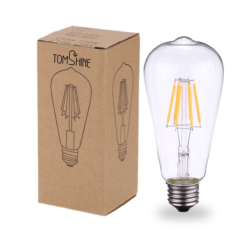 Tomshine 6W ST64 LED Filament Bulb Light AC220-240V E27 Base 2700K Vintage Retro Holiday Festival Decorations Warm WhiteHome &amp; Garden<br>Tomshine 6W ST64 LED Filament Bulb Light AC220-240V E27 Base 2700K Vintage Retro Holiday Festival Decorations Warm White<br>