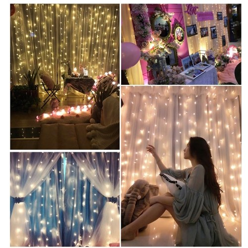 ac120v 18w 3 x 3 meter 300 leds vorhang wasserfall licht warmwei eu. Black Bedroom Furniture Sets. Home Design Ideas