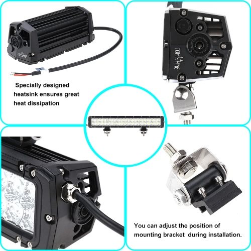 Tomshine 36W 12 LEDs 2520LM DC10-30V Off-road Light Bar IP65 Water-resistant Spot Beam for Jeep SUV Car Truck Tractor Boat Bus DriHome &amp; Garden<br>Tomshine 36W 12 LEDs 2520LM DC10-30V Off-road Light Bar IP65 Water-resistant Spot Beam for Jeep SUV Car Truck Tractor Boat Bus Dri<br>