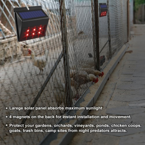 Solar Powered Red LED Predator Deterrent Lights Nocturnal Pest Animal Repellent Scares Farm Garden Pasture Orchard Corral ChickenHome &amp; Garden<br>Solar Powered Red LED Predator Deterrent Lights Nocturnal Pest Animal Repellent Scares Farm Garden Pasture Orchard Corral Chicken<br>