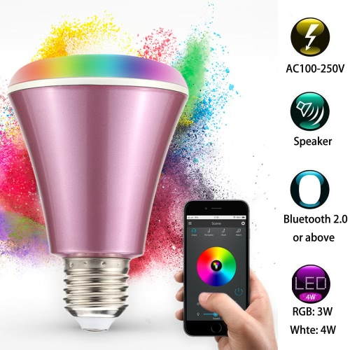 4W Bluetooth Smart Speaker LED E27 Light Bulb APP Smartphone Controlled Dimmable RGBW Color Changing Music Lights for IOS and AndrHome &amp; Garden<br>4W Bluetooth Smart Speaker LED E27 Light Bulb APP Smartphone Controlled Dimmable RGBW Color Changing Music Lights for IOS and Andr<br>