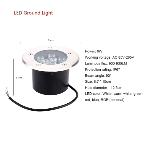 9W LED Outdoor Ground Garden Path Floor Underground Buried Yard Lamp Spot Landscape Light IP67 Waterproof AC 85-265VHome &amp; Garden<br>9W LED Outdoor Ground Garden Path Floor Underground Buried Yard Lamp Spot Landscape Light IP67 Waterproof AC 85-265V<br>