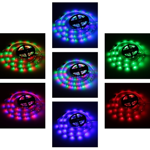 Lixada SMD 3528 Fiexble Light 60LEDs/m 5m/lot  LED RGB Strip Light with 24key RF Remote Controller and 12V 2A Adapter  for Bar HotHome &amp; Garden<br>Lixada SMD 3528 Fiexble Light 60LEDs/m 5m/lot  LED RGB Strip Light with 24key RF Remote Controller and 12V 2A Adapter  for Bar Hot<br>
