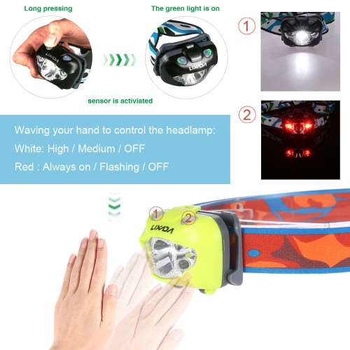 Lixada Ultra Bright Headlamp Flashlight IR Sensor White Red Strobe Emergency Water-resistant Light Running Walking Camping ReadingHome &amp; Garden<br>Lixada Ultra Bright Headlamp Flashlight IR Sensor White Red Strobe Emergency Water-resistant Light Running Walking Camping Reading<br>