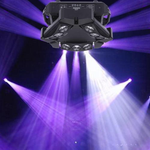 Lixada 90W 9LED RGBW DMX512 Triangle Spider Beam Stage Light