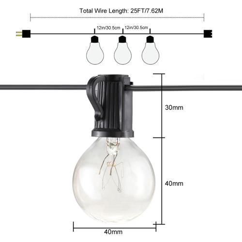 Tomshine UL Listed AC110V 125W 25FT E12 Base G40 Pack of 25 Globe Bulbs Incandescent String LightHome &amp; Garden<br>Tomshine UL Listed AC110V 125W 25FT E12 Base G40 Pack of 25 Globe Bulbs Incandescent String Light<br>