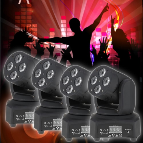 Mini 4 LEDs 50W RGBW Wash Rotating Moving Head Stage Effect Light 14/16 Channel DMX512 Sound-activeated for Indoor Disco KTV ClubHome &amp; Garden<br>Mini 4 LEDs 50W RGBW Wash Rotating Moving Head Stage Effect Light 14/16 Channel DMX512 Sound-activeated for Indoor Disco KTV Club<br>