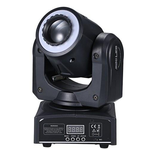 30W 8 Gobos Stage Light Вращающийся RGBW Spotlight Mini Moving Head Lamp