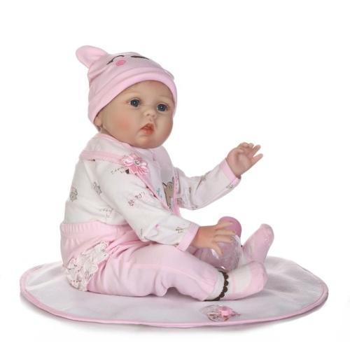 22in Reborn Baby Rebirth Doll Kids Gift Blond Hair Pink Kitty