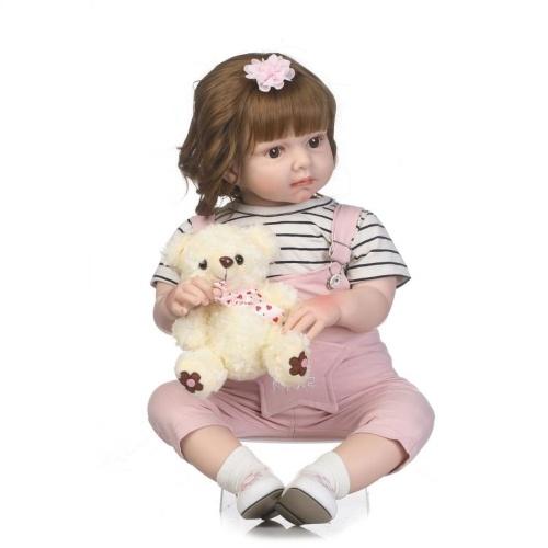 Reborn Baby Doll Girl Criança Real Lifelike 28 Polegadas Boneca Art Boneca Grande para Idades 3 +