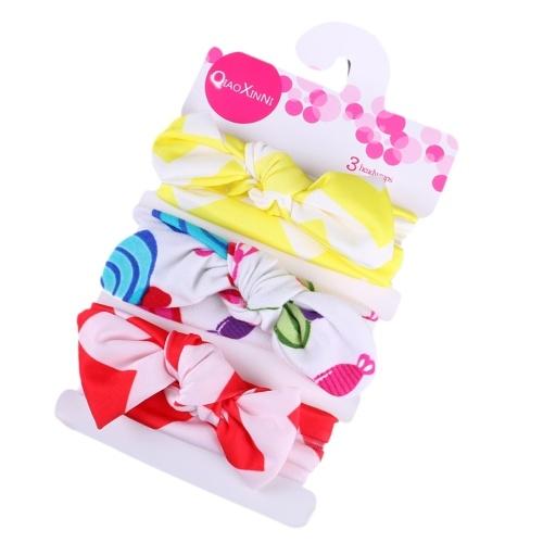 3pcs bebé diademas elásticos de algodón anudado