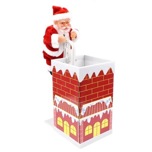 Santa Claus sube a la chimenea y canta canciones navideñas